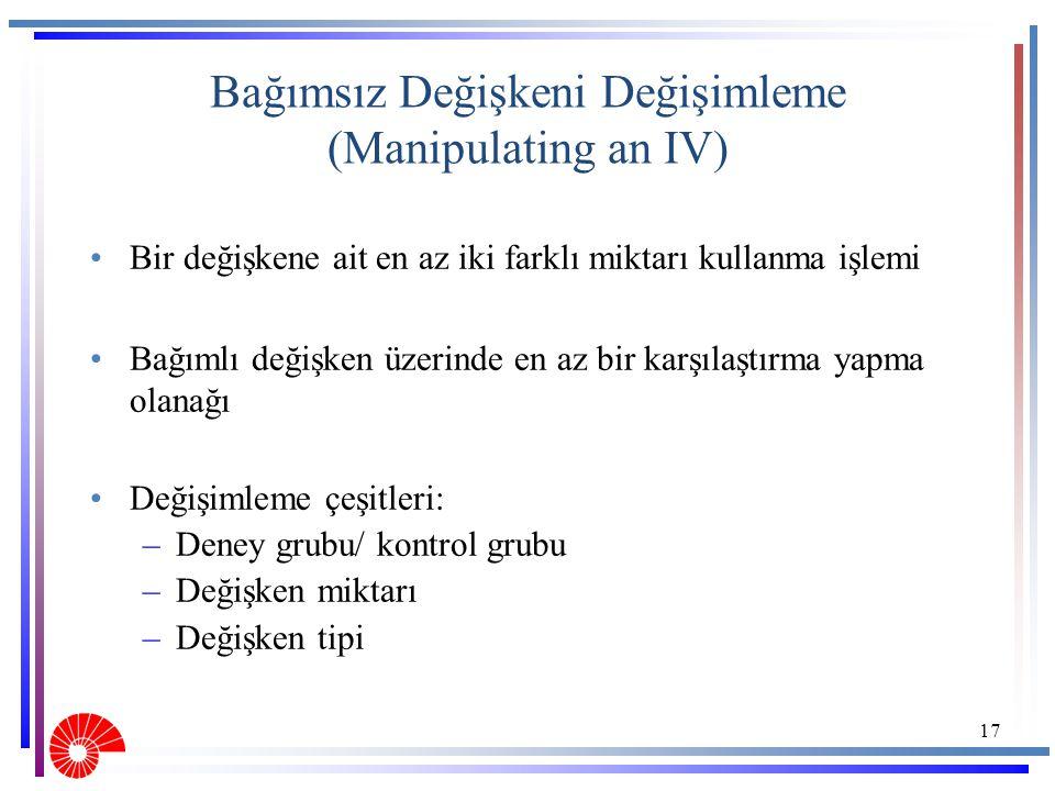 Bağımsız Değişkeni Değişimleme (Manipulating an IV)