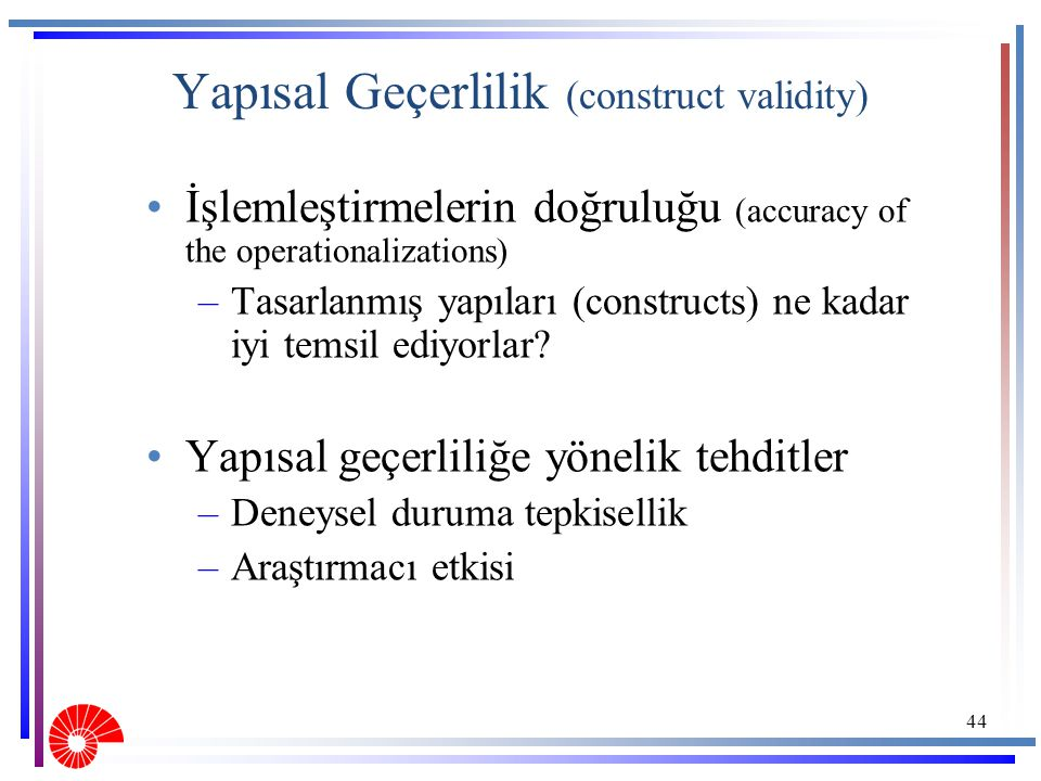 Yapısal Geçerlilik (construct validity)