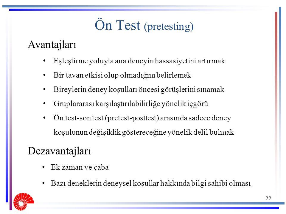 Ön Test (pretesting) Avantajları Dezavantajları