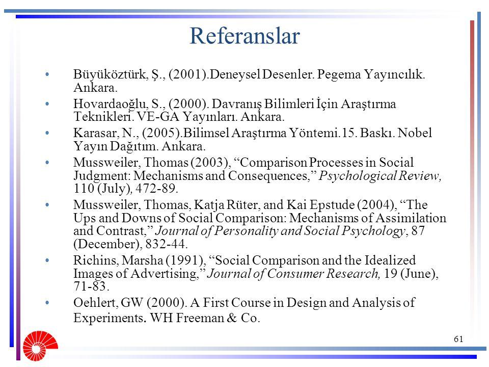 Referanslar Büyüköztürk, Ş., (2001).Deneysel Desenler. Pegema Yayıncılık. Ankara.