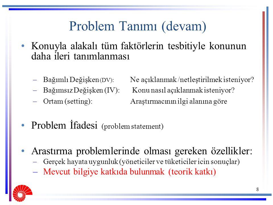 Problem Tanımı (devam)