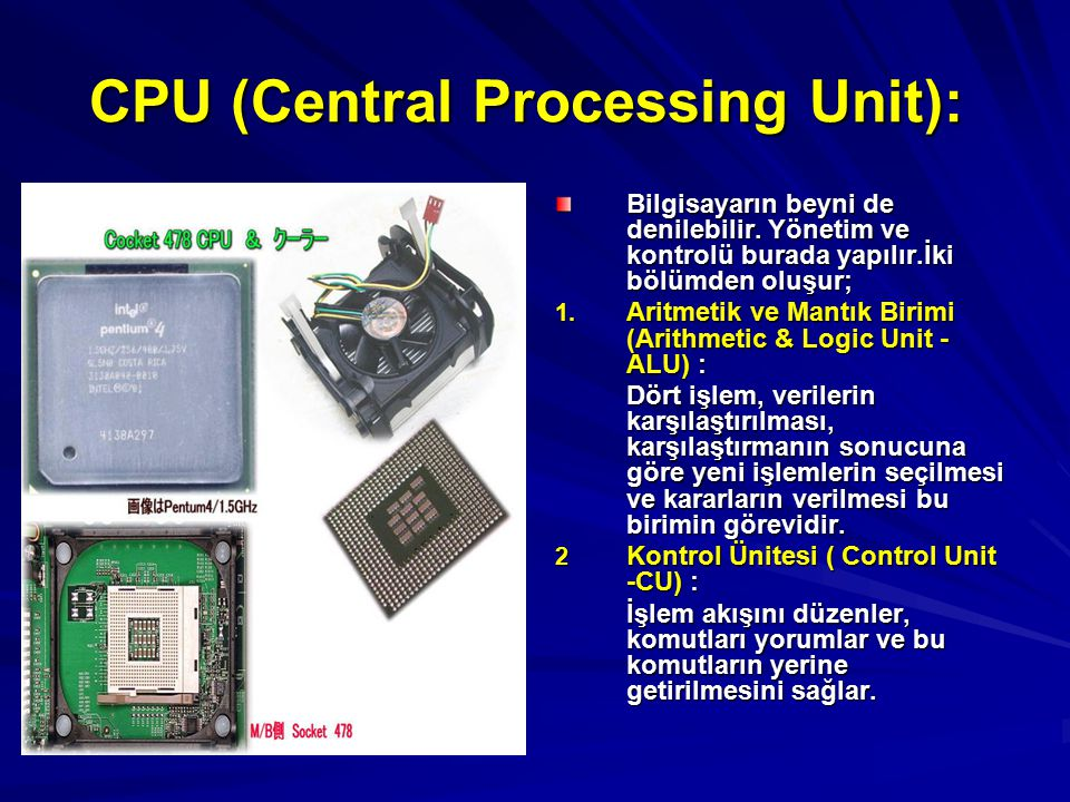 CPU (Central Processing Unit):