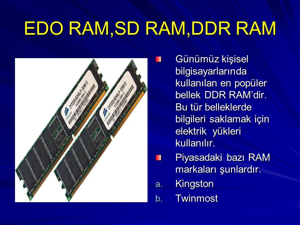 EDO RAM,SD RAM,DDR RAM