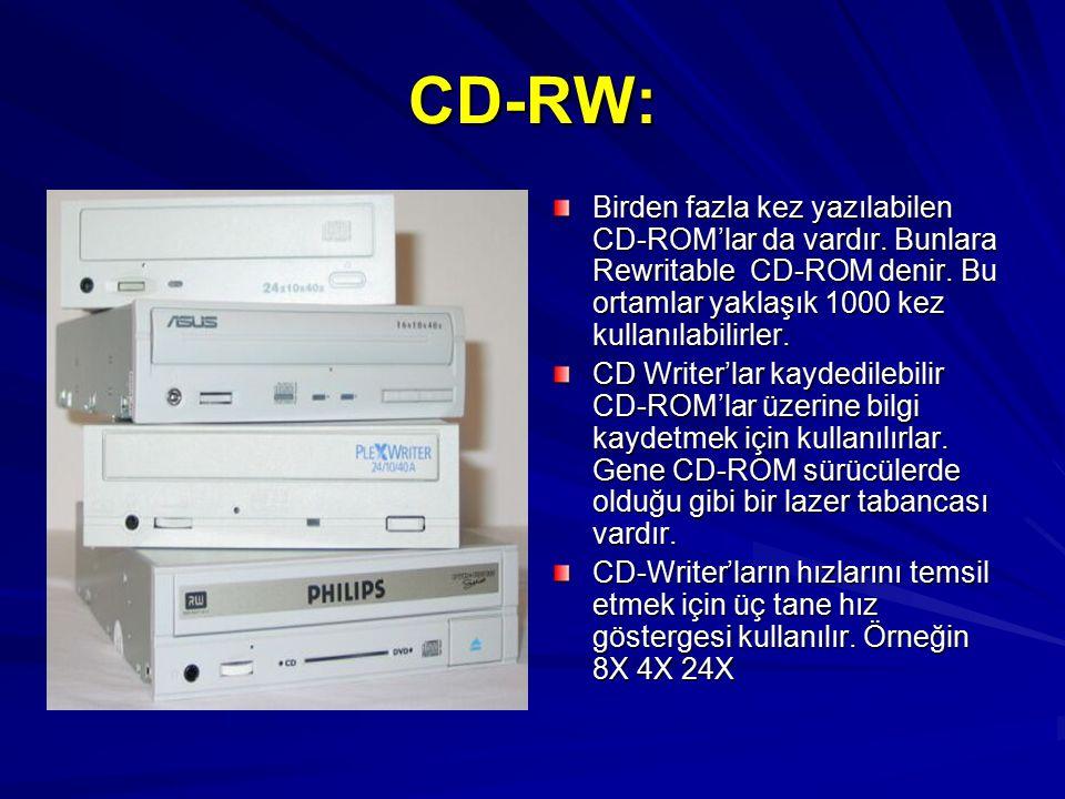 CD-RW: Birden fazla kez yazılabilen CD-ROM'lar da vardır. Bunlara Rewritable CD-ROM denir. Bu ortamlar yaklaşık 1000 kez kullanılabilirler.