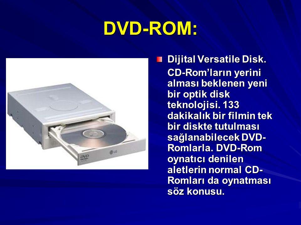DVD-ROM: Dijital Versatile Disk.