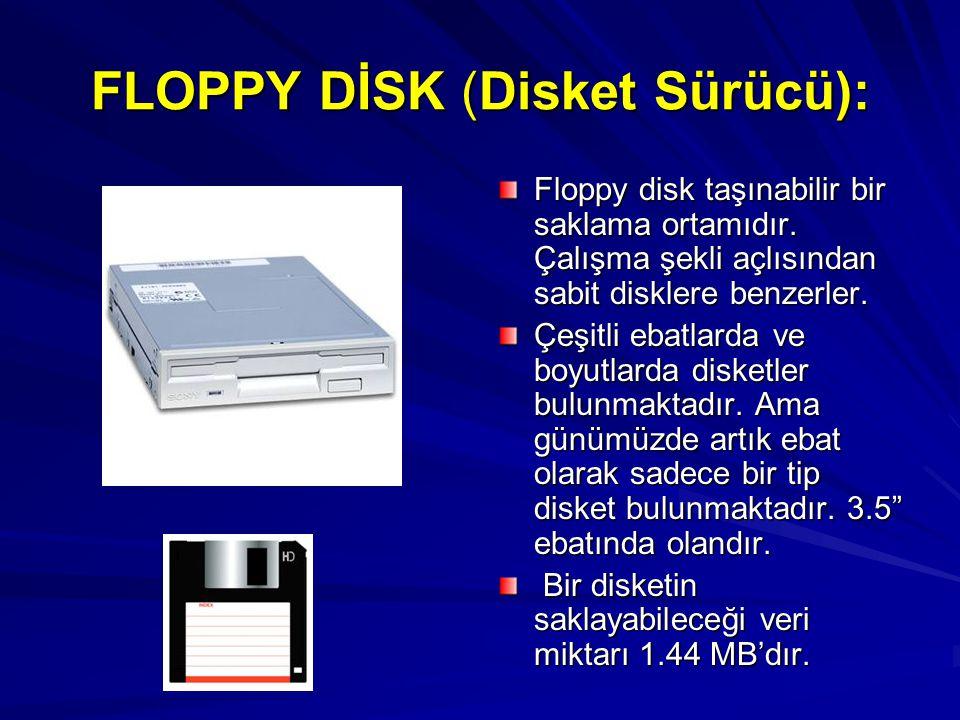 FLOPPY DİSK (Disket Sürücü):