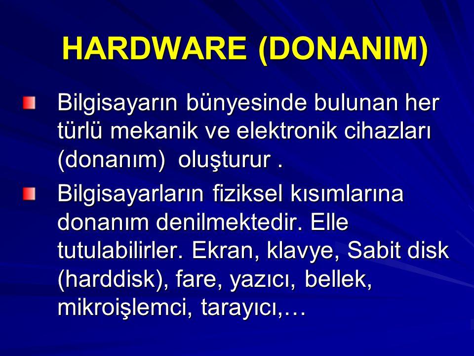 HARDWARE (DONANIM) Bilgisayarın bünyesinde bulunan her türlü mekanik ve elektronik cihazları (donanım) oluşturur .