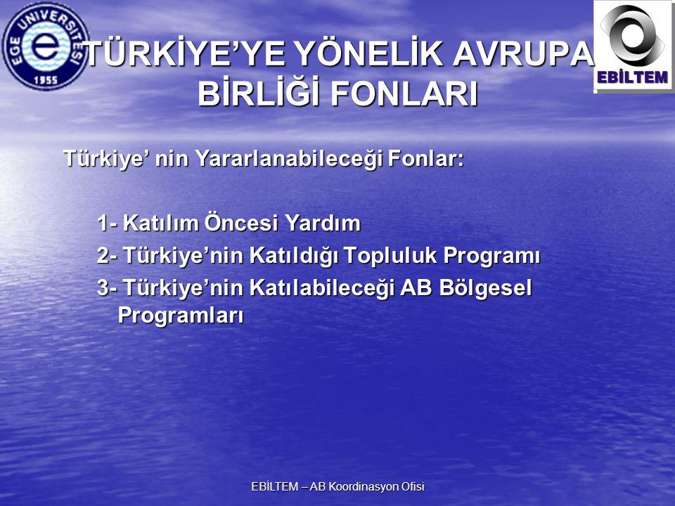 TÜRKİYE'YE YÖNELİK AVRUPA BİRLİĞİ FONLARI