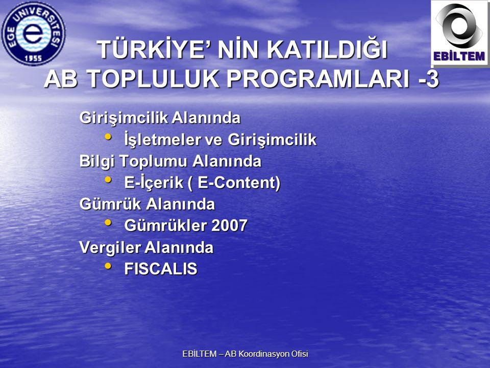 TÜRKİYE' NİN KATILDIĞI AB TOPLULUK PROGRAMLARI -3