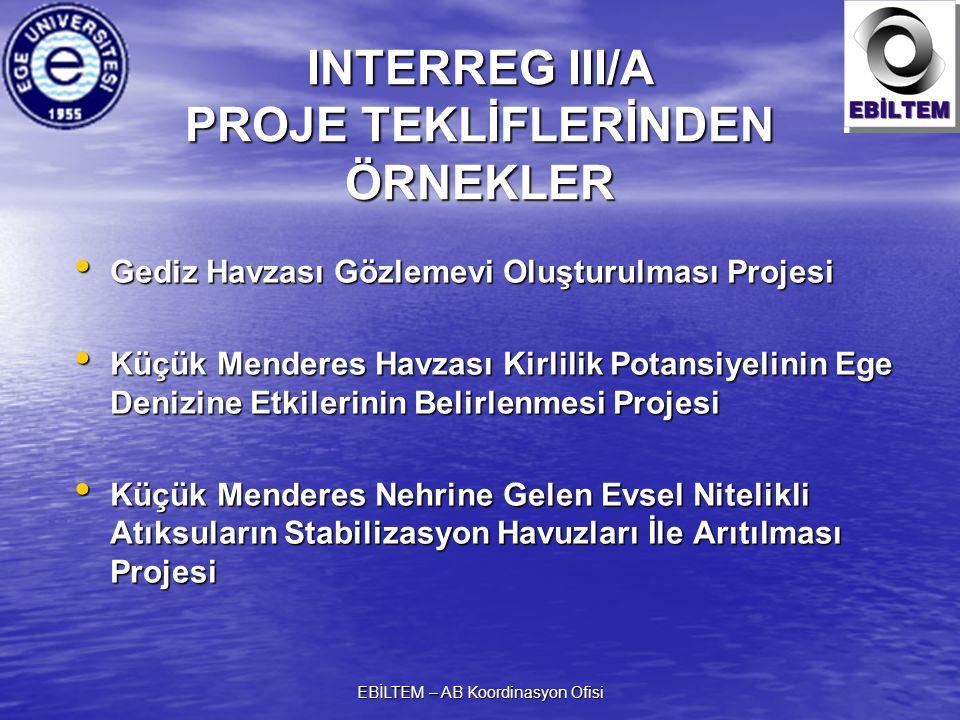 INTERREG III/A PROJE TEKLİFLERİNDEN ÖRNEKLER