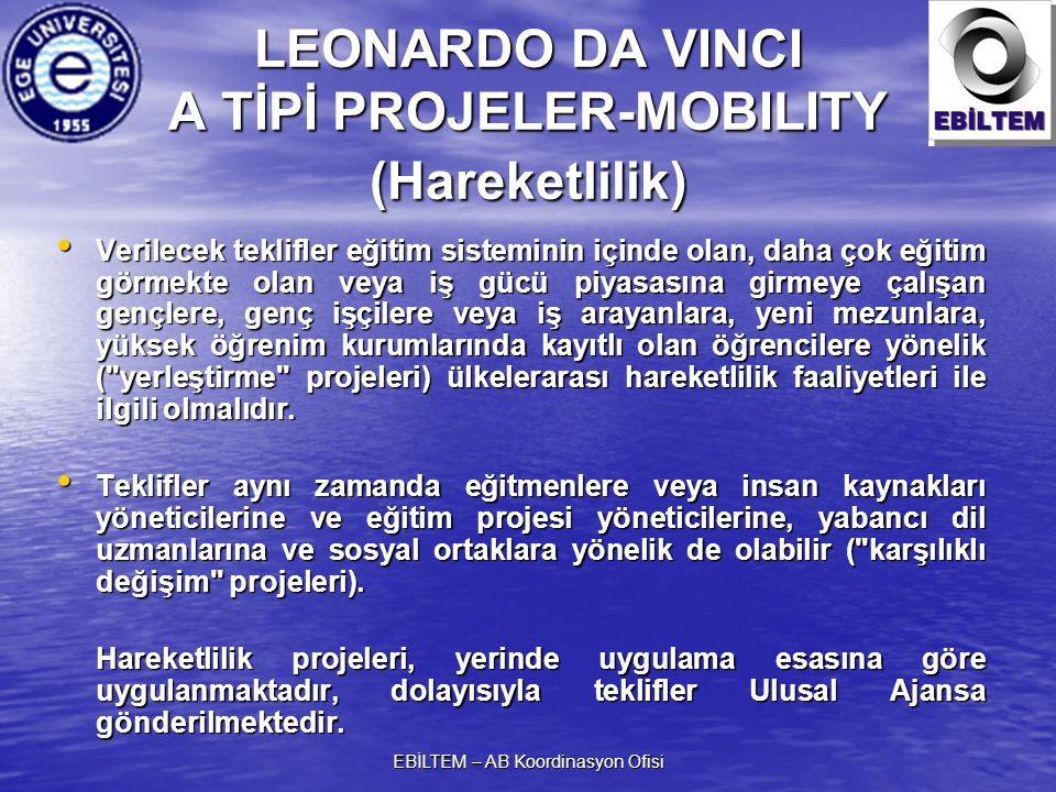 LEONARDO DA VINCI A TİPİ PROJELER-MOBILITY (Hareketlilik)