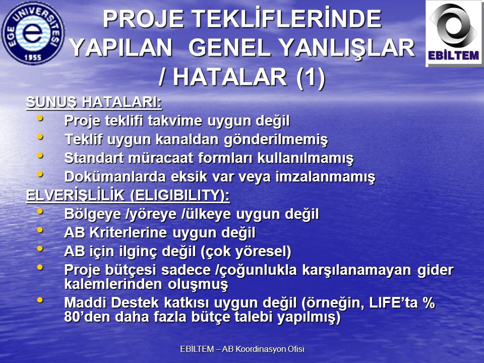 PROJE TEKLİFLERİNDE YAPILAN GENEL YANLIŞLAR / HATALAR (1)