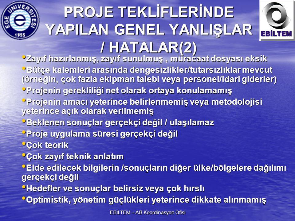 PROJE TEKLİFLERİNDE YAPILAN GENEL YANLIŞLAR / HATALAR(2)