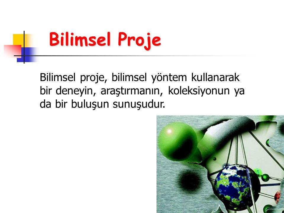 Bilimsel Proje Bilimsel proje, bilimsel yöntem kullanarak