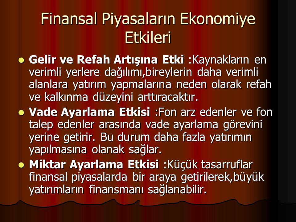 Finansal Piyasaların Ekonomiye Etkileri