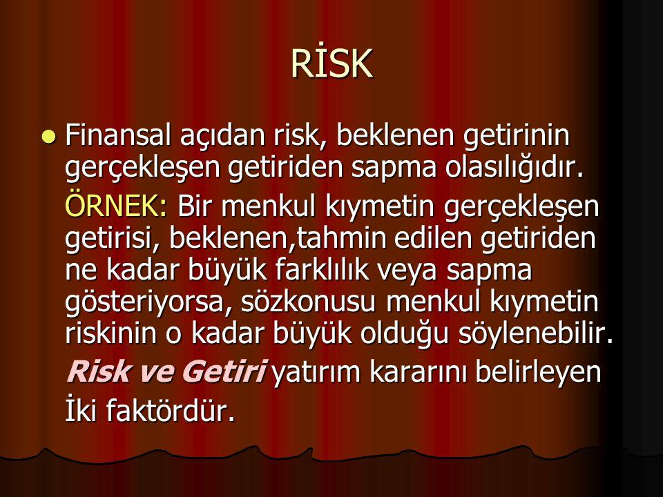RİSK Finansal açıdan risk, beklenen getirinin gerçekleşen getiriden sapma olasılığıdır.