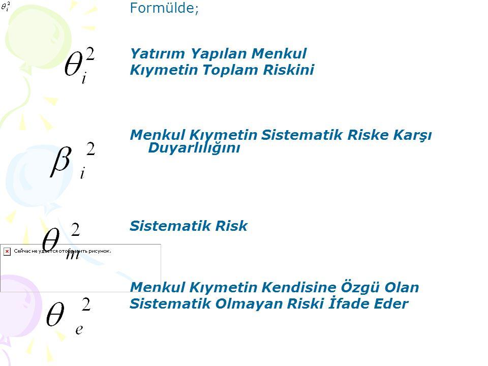 Formülde; Yatırım Yapılan Menkul. Kıymetin Toplam Riskini. Menkul Kıymetin Sistematik Riske Karşı Duyarlılığını.