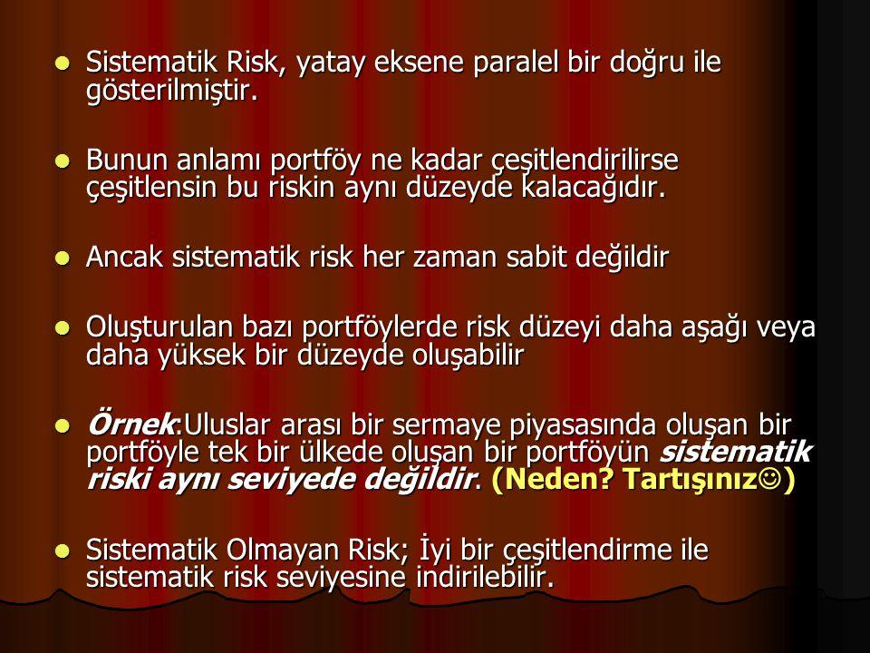 Sistematik Risk, yatay eksene paralel bir doğru ile gösterilmiştir.