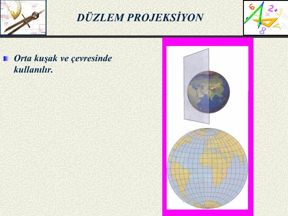 DÜZLEM PROJEKSİYON Orta kuşak ve çevresinde kullanılır. 5