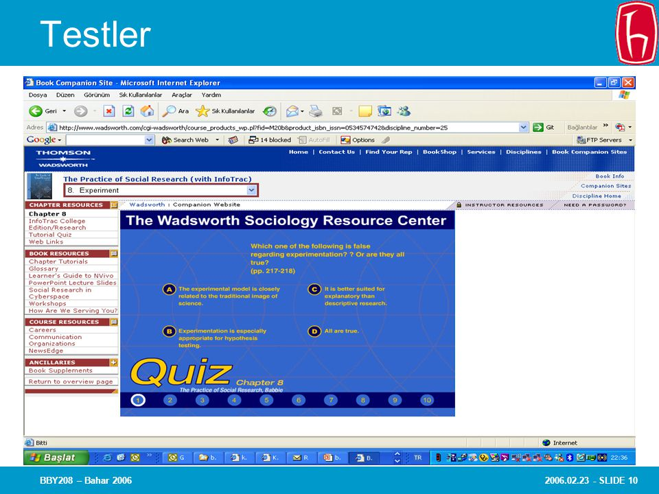 Testler BBY208 – Bahar 2006