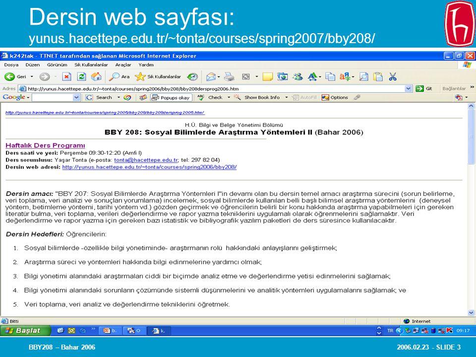 Dersin web sayfası: yunus. hacettepe. edu