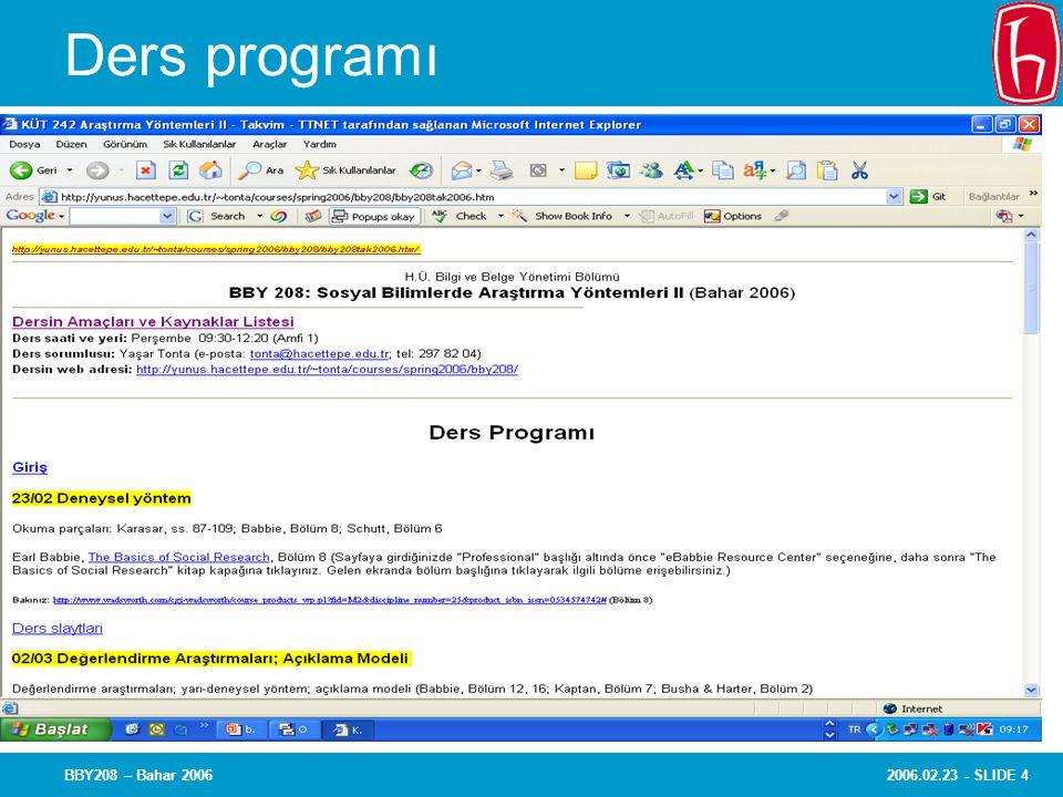 Ders programı BBY208 – Bahar 2006