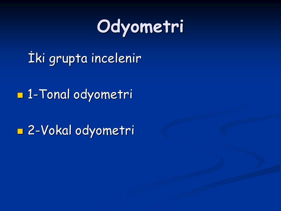 Odyometri İki grupta incelenir 1-Tonal odyometri 2-Vokal odyometri