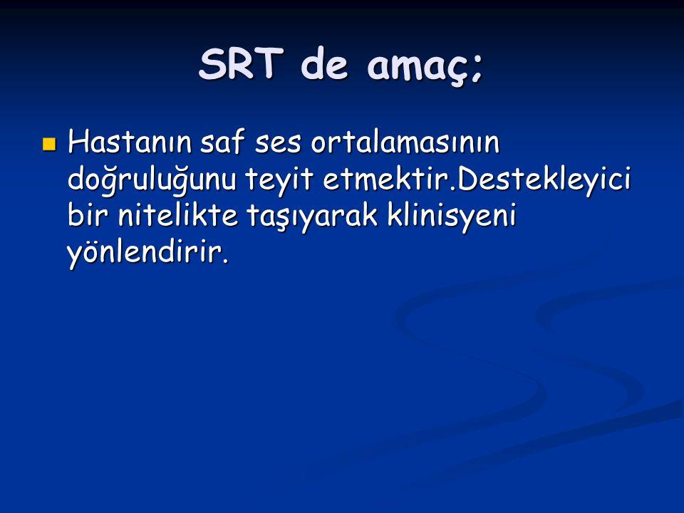 SRT de amaç; Hastanın saf ses ortalamasının doğruluğunu teyit etmektir.Destekleyici bir nitelikte taşıyarak klinisyeni yönlendirir.