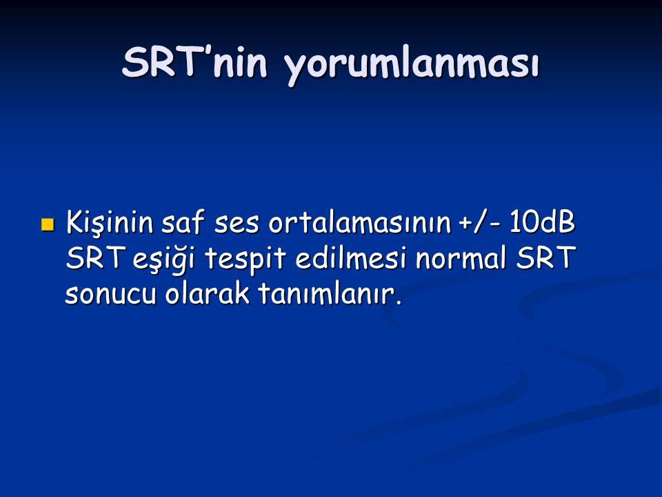 SRT'nin yorumlanması Kişinin saf ses ortalamasının +/- 10dB SRT eşiği tespit edilmesi normal SRT sonucu olarak tanımlanır.