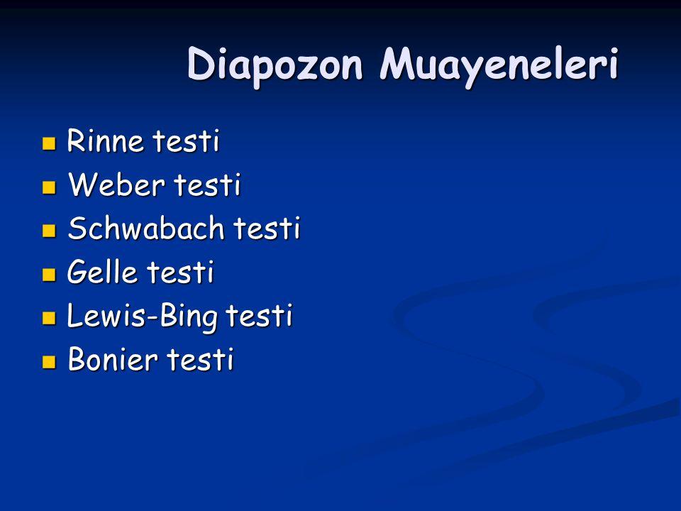 Diapozon Muayeneleri Rinne testi Weber testi Schwabach testi