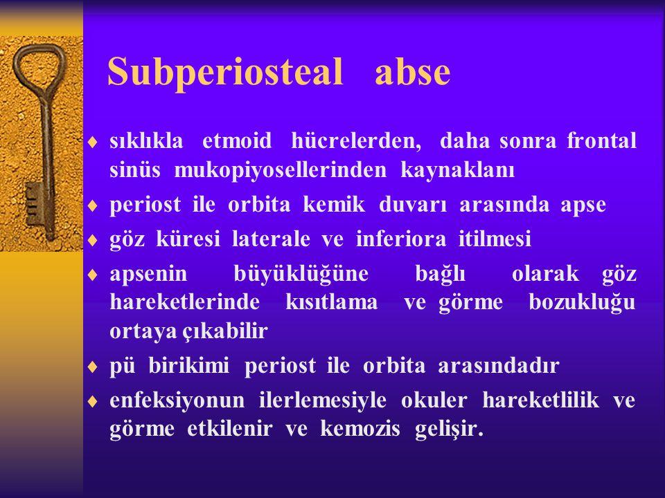 Subperiosteal abse sıklıkla etmoid hücrelerden, daha sonra frontal sinüs mukopiyosellerinden kaynaklanı.