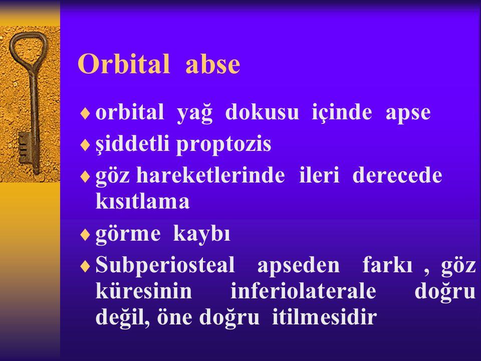 Orbital abse orbital yağ dokusu içinde apse şiddetli proptozis