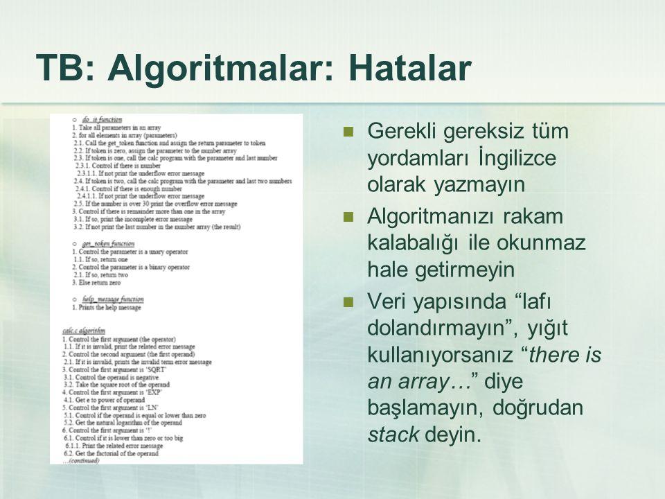 TB: Algoritmalar: Hatalar