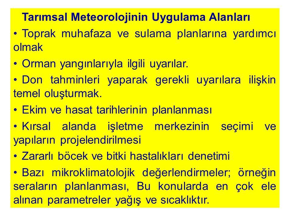 Tarımsal Meteorolojinin Uygulama Alanları