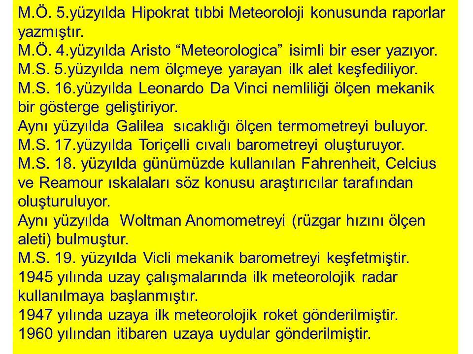 M.Ö. 5.yüzyılda Hipokrat tıbbi Meteoroloji konusunda raporlar yazmıştır.