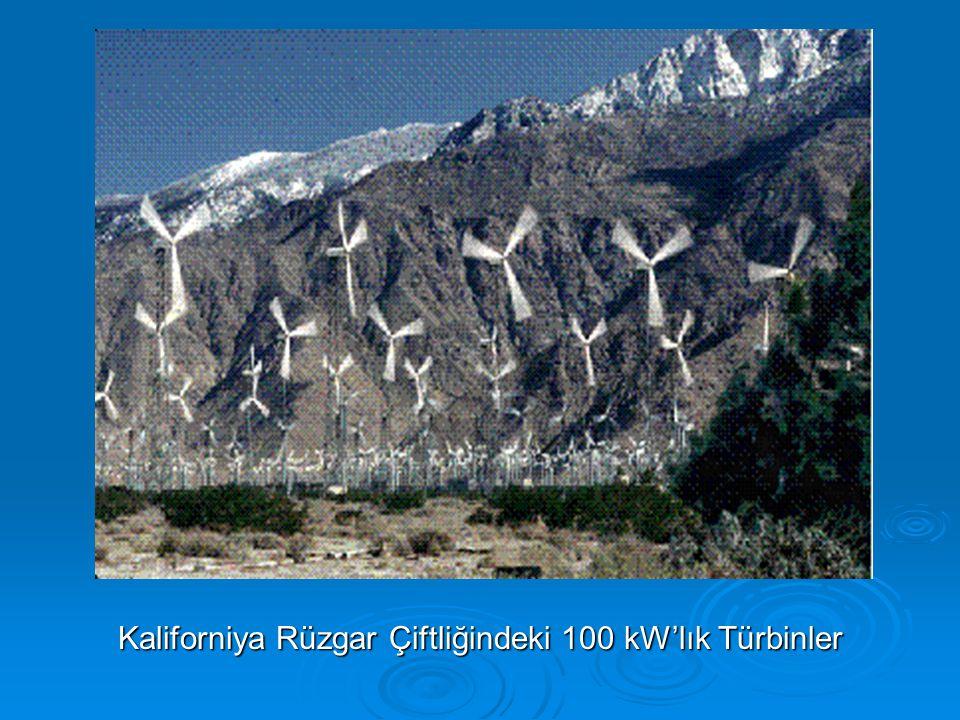 Kaliforniya Rüzgar Çiftliğindeki 100 kW'lık Türbinler