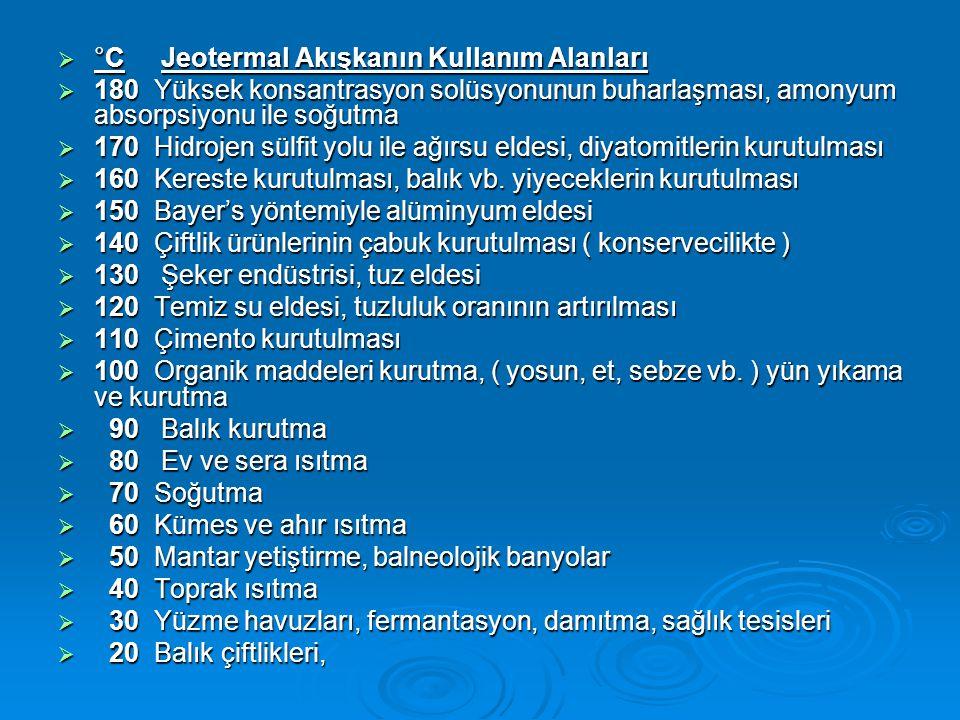 °C Jeotermal Akışkanın Kullanım Alanları