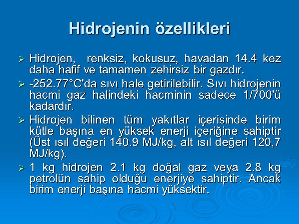 Hidrojenin özellikleri