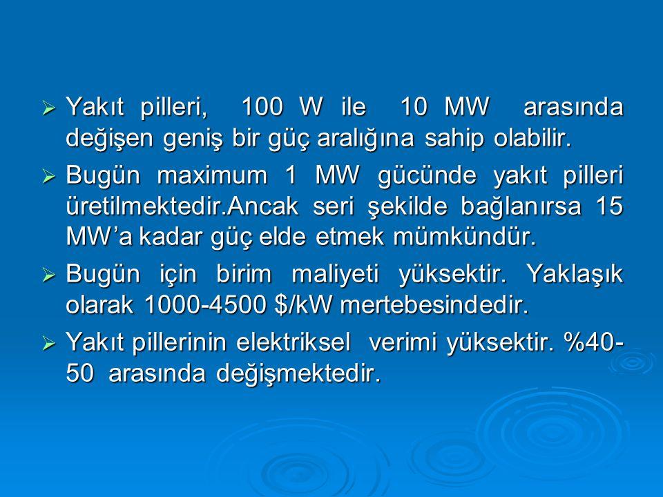 Yakıt pilleri, 100 W ile 10 MW arasında değişen geniş bir güç aralığına sahip olabilir.