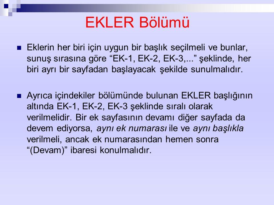 EKLER Bölümü