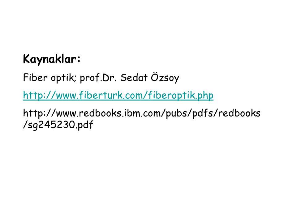 Kaynaklar: Fiber optik; prof.Dr. Sedat Özsoy