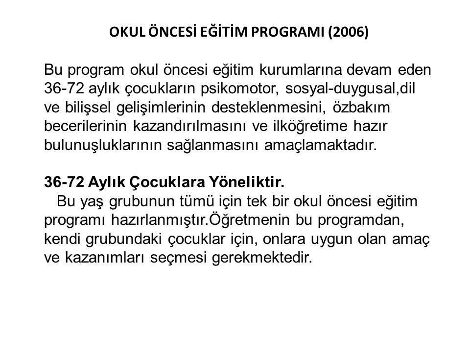 OKUL ÖNCESİ EĞİTİM PROGRAMI (2006)