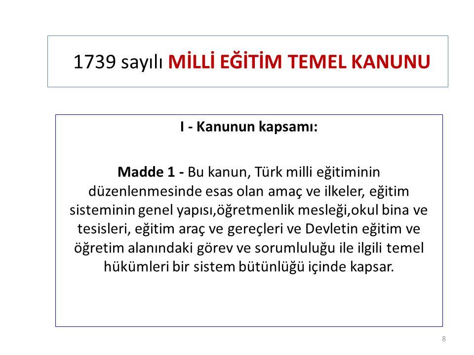 1739 sayılı MİLLİ EĞİTİM TEMEL KANUNU