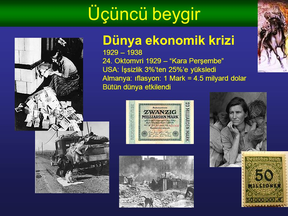 Üçüncü beygir Dünya ekonomik krizi 1929 – 1938