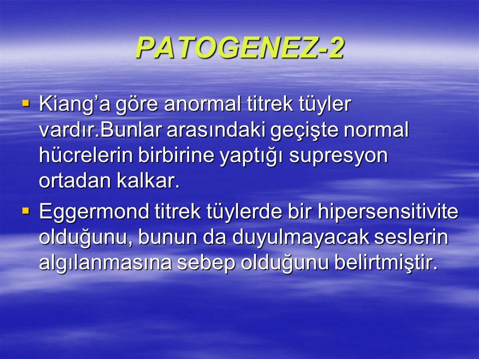 PATOGENEZ-2 Kiang'a göre anormal titrek tüyler vardır.Bunlar arasındaki geçişte normal hücrelerin birbirine yaptığı supresyon ortadan kalkar.