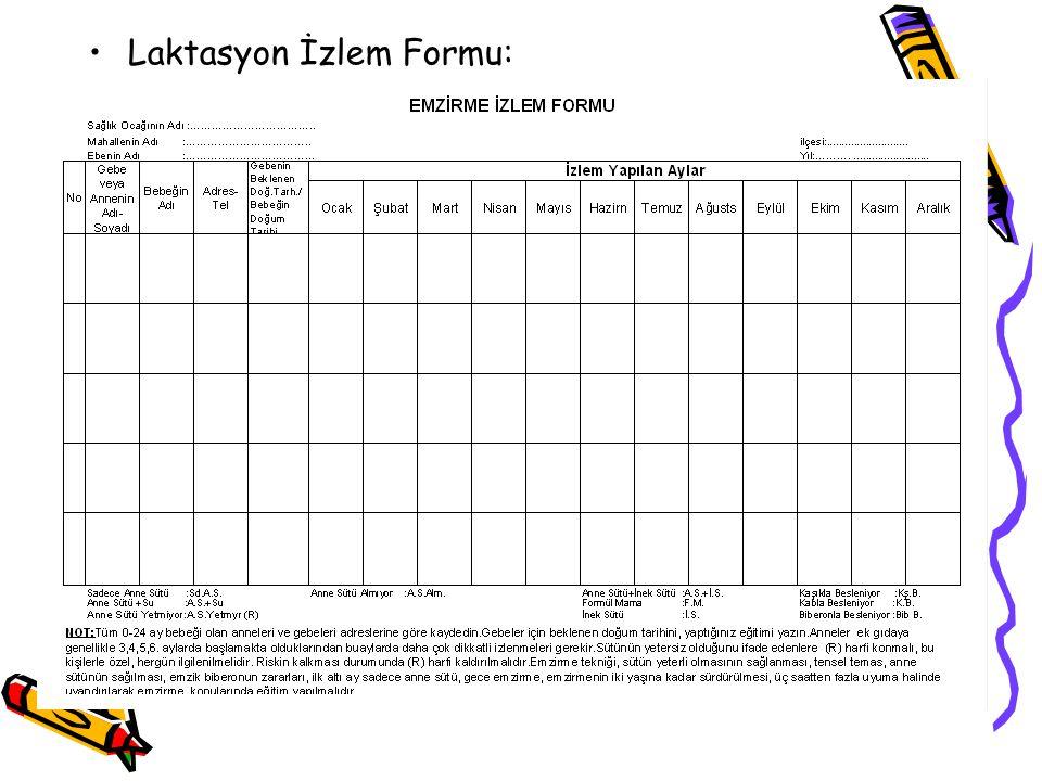 Laktasyon İzlem Formu: