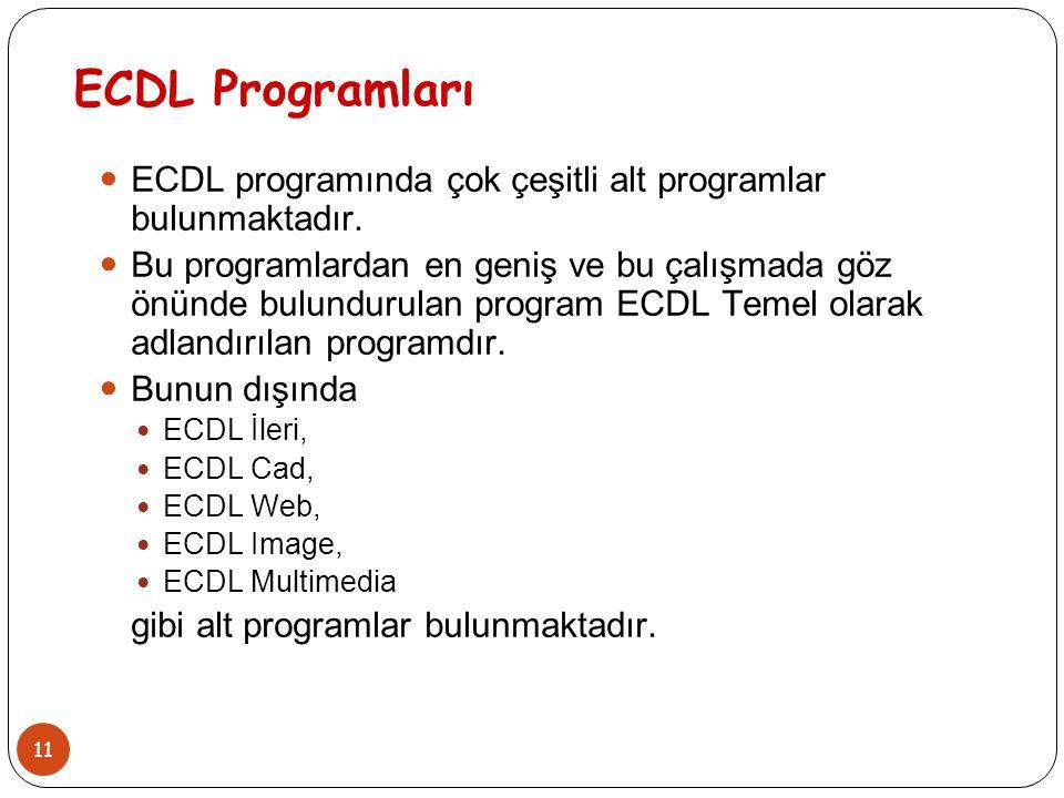 ECDL Programları ECDL programında çok çeşitli alt programlar bulunmaktadır.