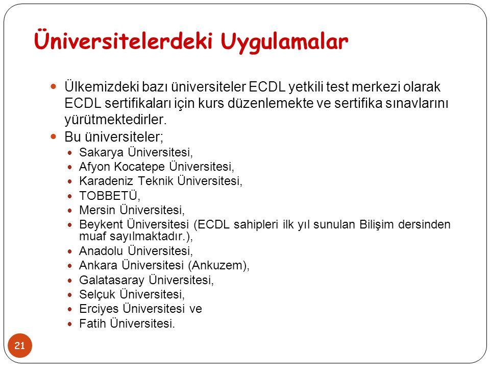 Üniversitelerdeki Uygulamalar