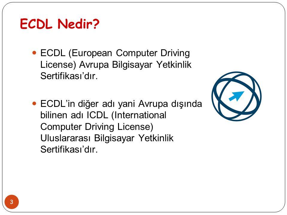 ECDL Nedir ECDL (European Computer Driving License) Avrupa Bilgisayar Yetkinlik Sertifikası'dır.