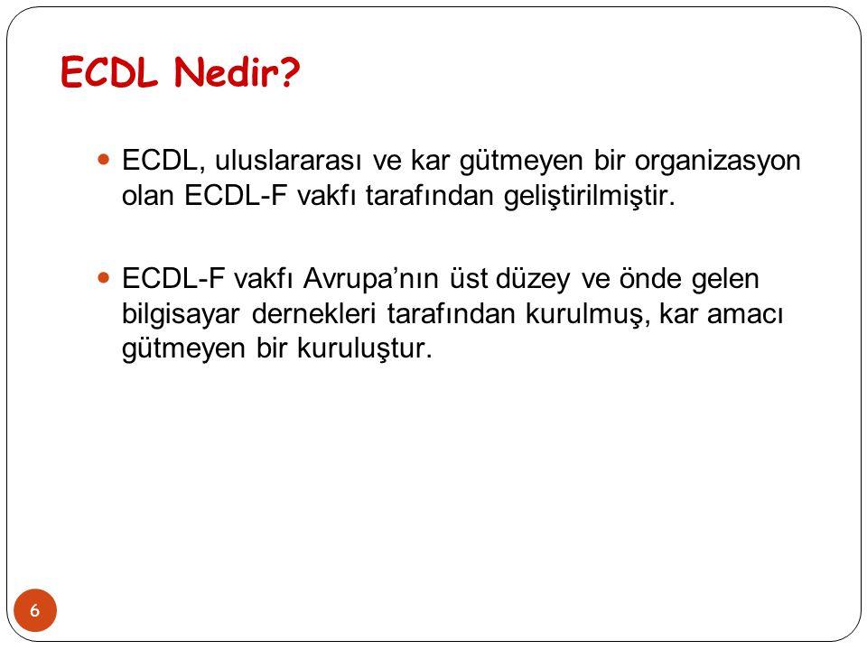ECDL Nedir ECDL, uluslararası ve kar gütmeyen bir organizasyon olan ECDL-F vakfı tarafından geliştirilmiştir.